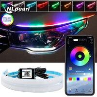 NLpearl 2x Neon Fließende DRL LED Streifen Blinker Lampe App Remote RGB Flexible DRL LED Tagfahrlicht für auto Scheinwerfer