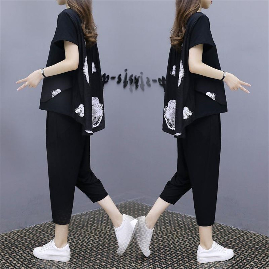 Women Two Piece Set Short Sleeve Top And Elastic Waist Pants Summer 2020 Tracksuit
