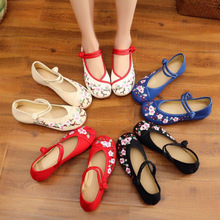 Shoes Woman Ballerinas Embroidery Flower Canvas Casual Women's Ladies Ankle-Strap Chinese