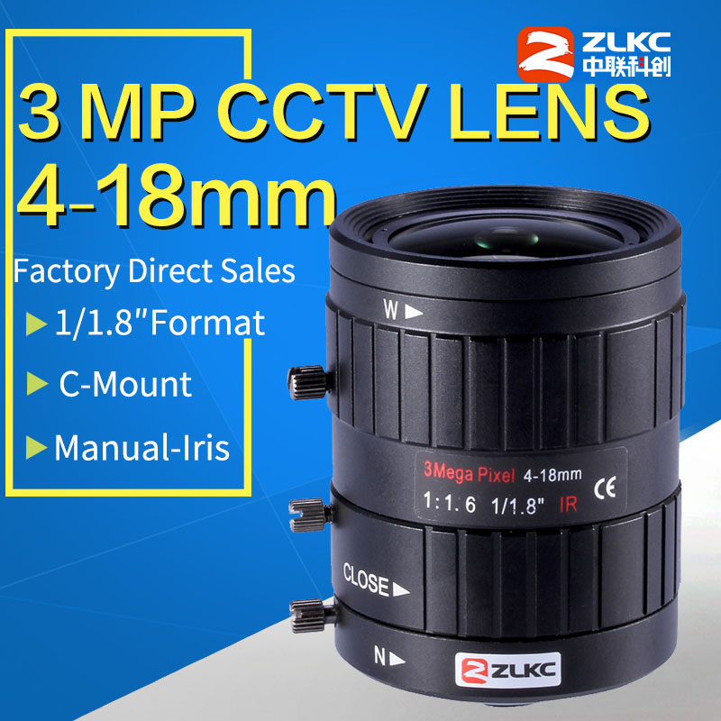 3.0 Megapixel Manual Iris Lens 4-18mm, 1/1.8