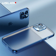 USLION Square Frame Plating Clear Phone Case For iPhone 12 11 Pro Max Mini X XR XS 7 8 Plus SE 2020 Transparent Silicone Cover