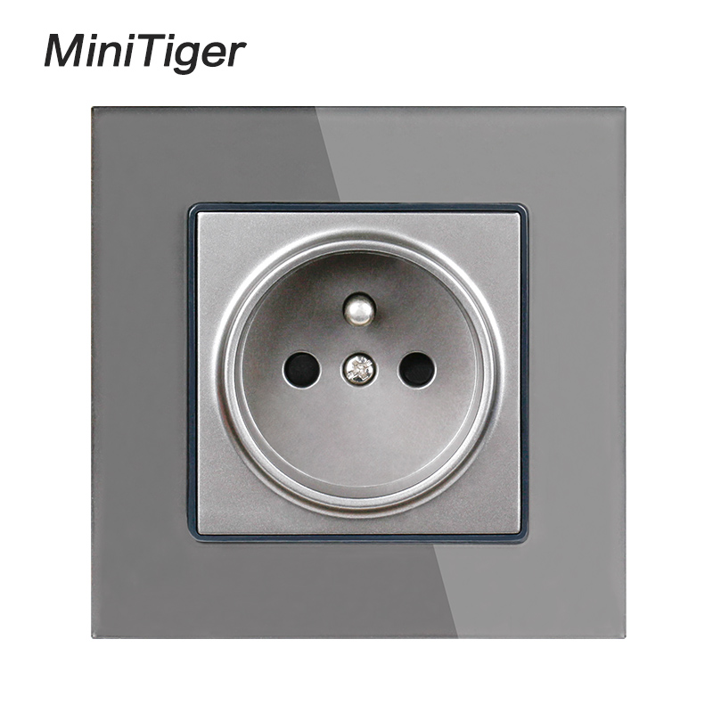 Minitiger Crystal Glass Panel Wall Power Socket Grounded 16A French Standard Electrical Outlet Black White Gold Grey Colorful