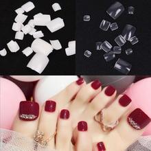 100pcs Fake Artificial Acrylic False Toe Full Nail Tips Natural White Transparent Toenails Foot Manicure Beauty Art Tools