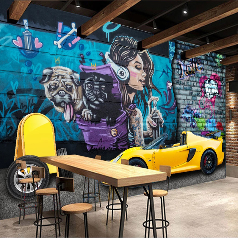 Custom Mural <font><b>Wallpaper</b></font> <font><b>3D</b></font> Sports <font><b>Car</b></font> <font><b>Graffiti</b></font> Wall Art Background Wall Papers Decor Restaurant Cafe PVC Waterproof Wall Stickers image