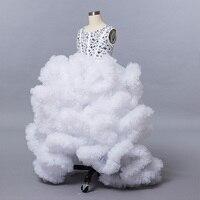 White Princess Cloud little flower girls dresses for weddings kids Children Party dresses 2019 Floor Length Ball Gown