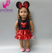clothes for doll 43cm baby doll dress gold color mickey bow headband for 18 inch girl dolls clothes set cartoon dress(China)
