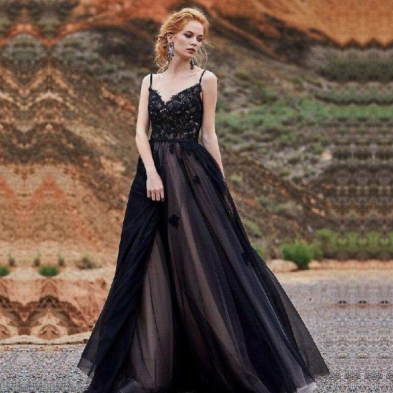 Amazing Black V Neck Wedding Dress Spaghetti Straps Lace Appliques Bridal Dresses Sleeveless Wedding Gown Vestido De Noiva