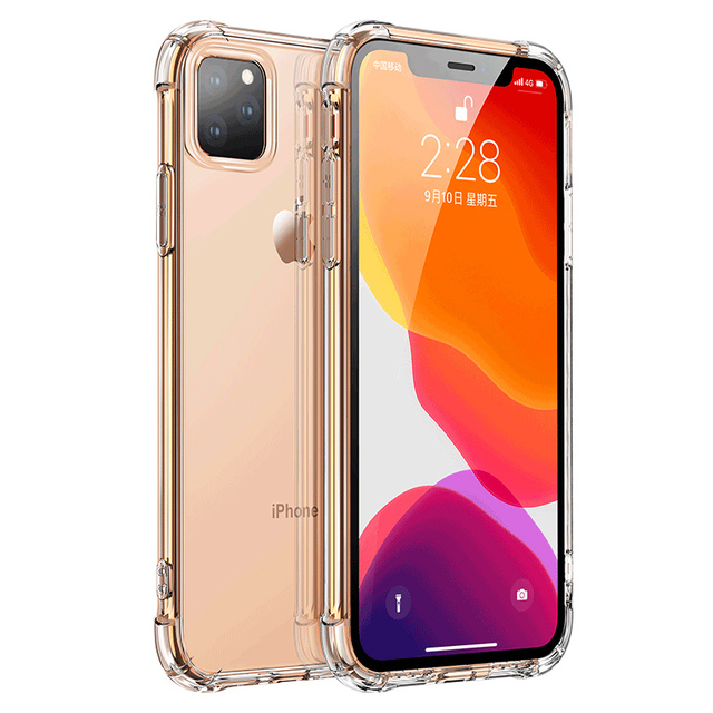 Transparent Protection Case For iPhone 11 Pro X XS Max Four Corner Strengthen Silicon Clear Cover For iPhone 11 pro max 7 8 Plus