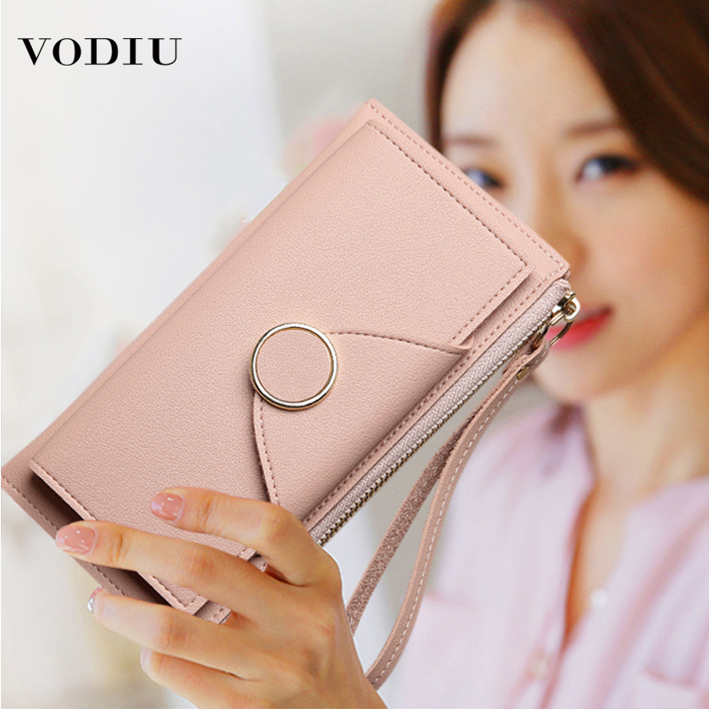 Women Wallets Female Leather Purse 2019 Fashion Brand Zipper Coin Wallet Cards Holder Ring Long Slim Purses Mobile Phone Bag