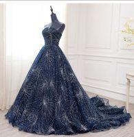 Luxury Strapless Party Dresses 2020 Navy Blue Evening Gowns Design Serene Hill Plus Size Women Wedding Vestidos 020704