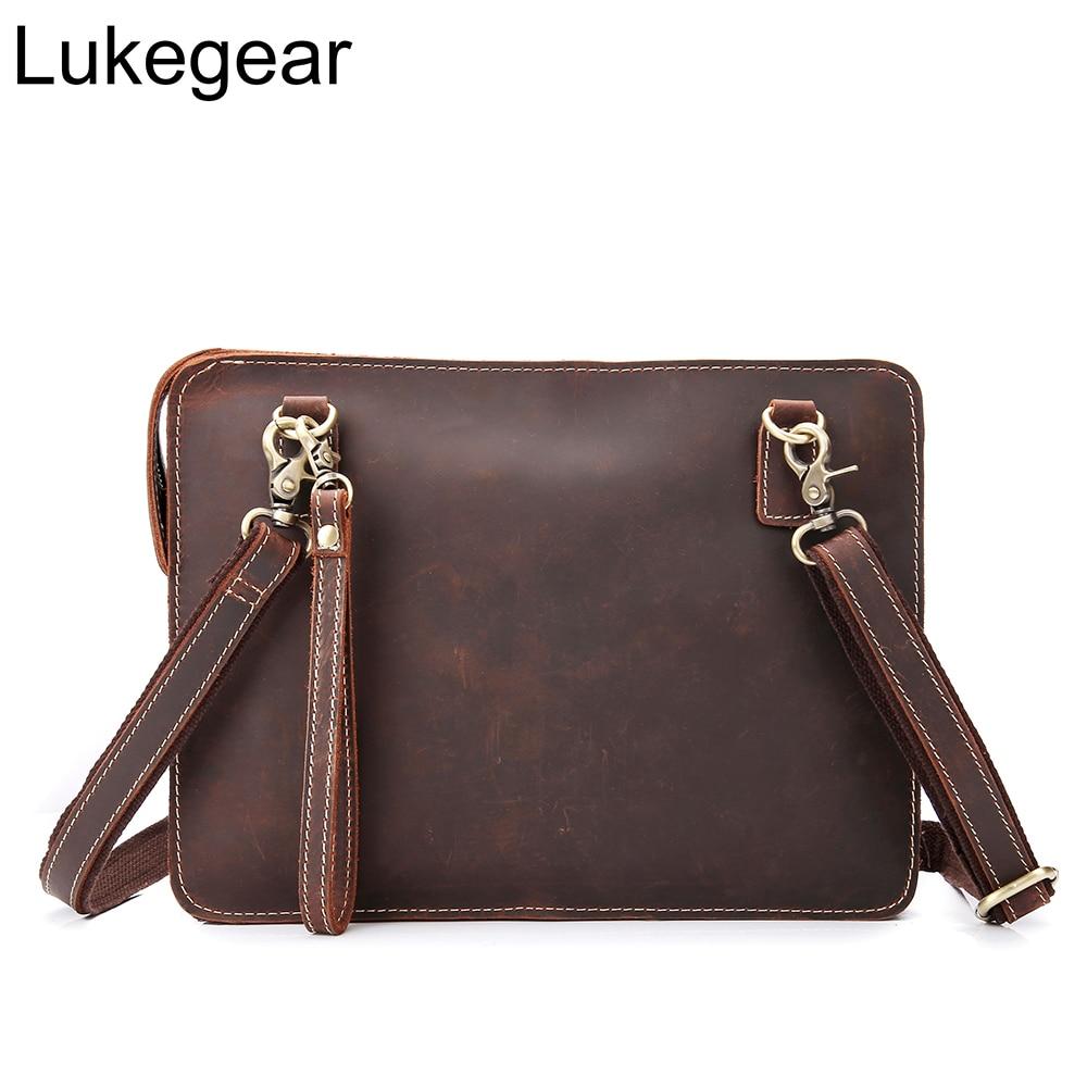 Lukegear Genuine Leather Bags For Men Retro Handmade Briefcase Laptop Pocket Office Bags For Women