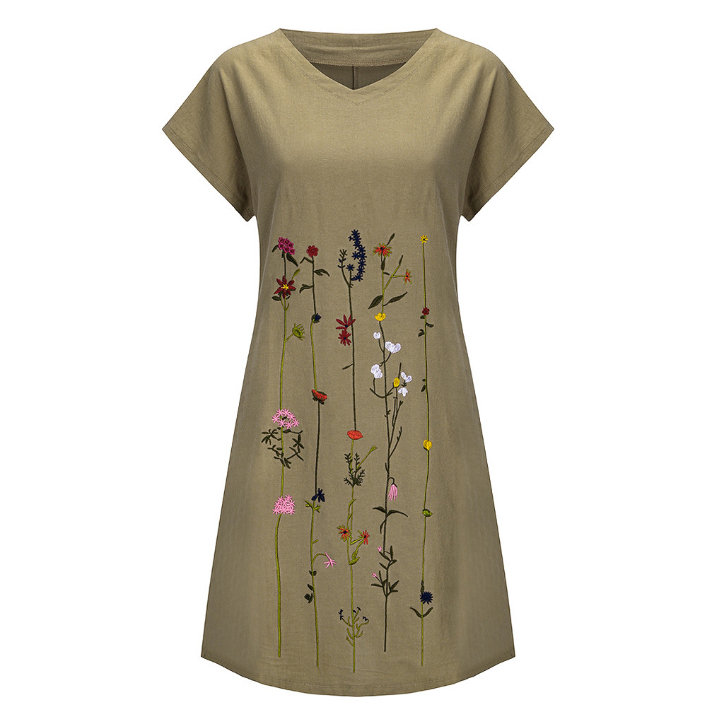 Fashion linen dress Women Plus Size Embroidered Short Sleeves V Neck Casual Short Dress bayan elbise