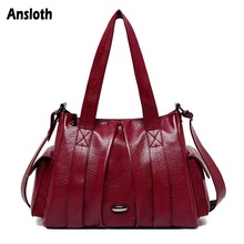 Ansloth Oil Wax Leather Tote Bags Women Handbag Brand Shoulder Bag Top-handle Bag Lady Large Bag High Quality Solid Color HPS862