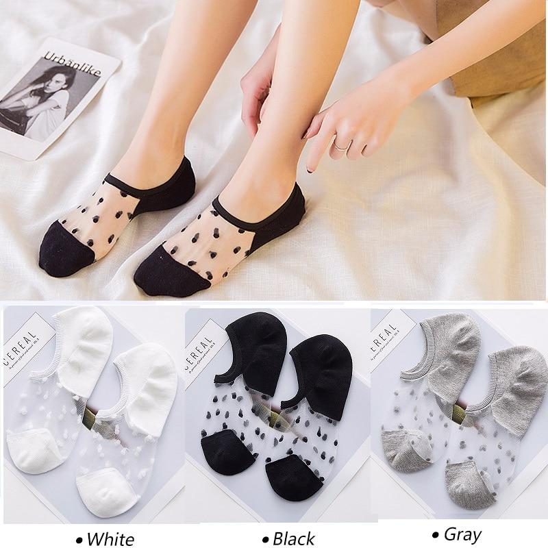 1/2/3/4/5pair Summer Invisible Boat Socks Slippers Women Lace Socks Transparent Ladies Socks Crystal Glass Silk Dot Print Sock