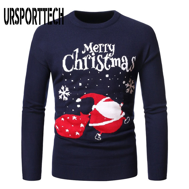 Merry Christmas Sweater Men Pullovers Round Neck Knitted Bottoming Sweater Christmas Elements Snowflake Printed Sweaters XXL