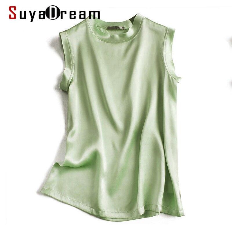 SuyaDream Women Silk Tanks 100%Real Silk Satin Sleeveless Solid Tank Tops 2020 Summer Elegent Vests