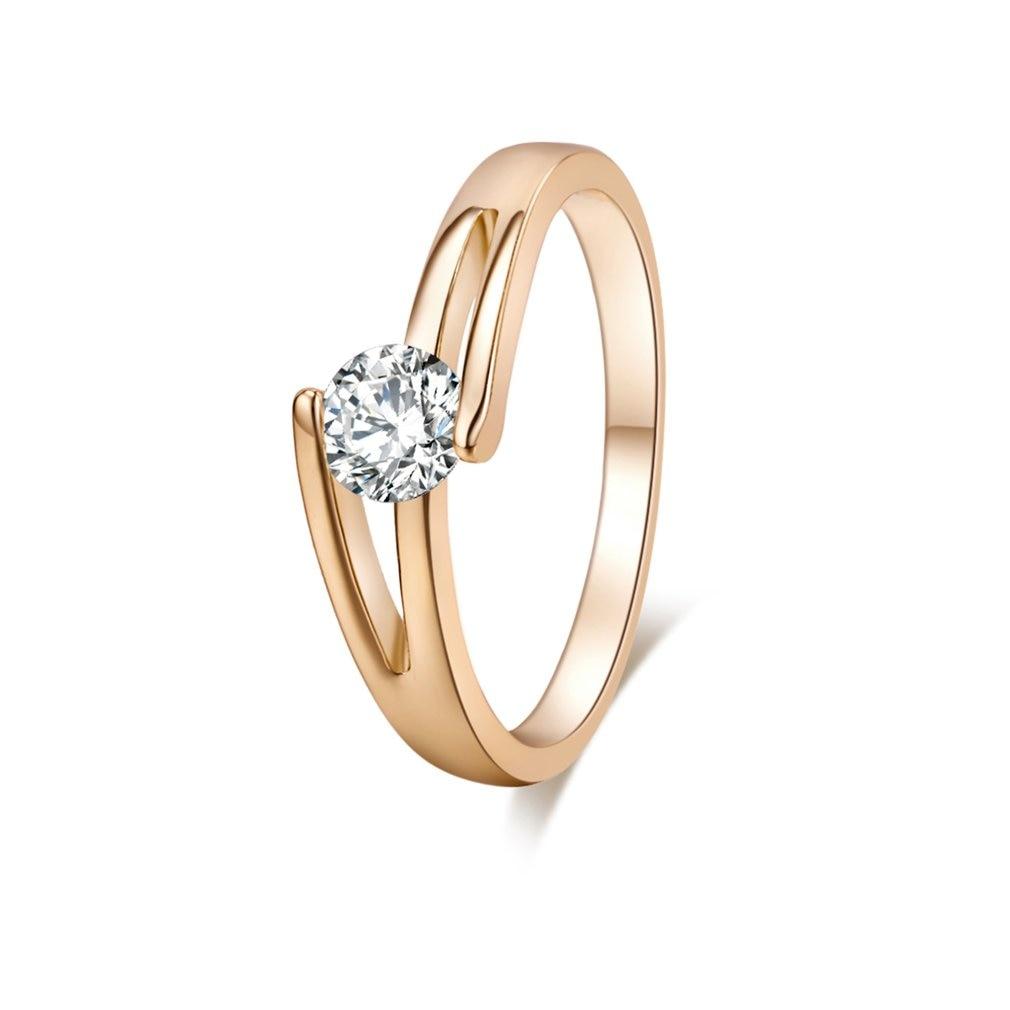 J0737-J-B-5,25 Stilvolle Minimalistischen Gekreuzte Zirkon Ring Kupfer Finger Reif Hoop Mode Schmuck Dekoration für Geschenk Präsentieren