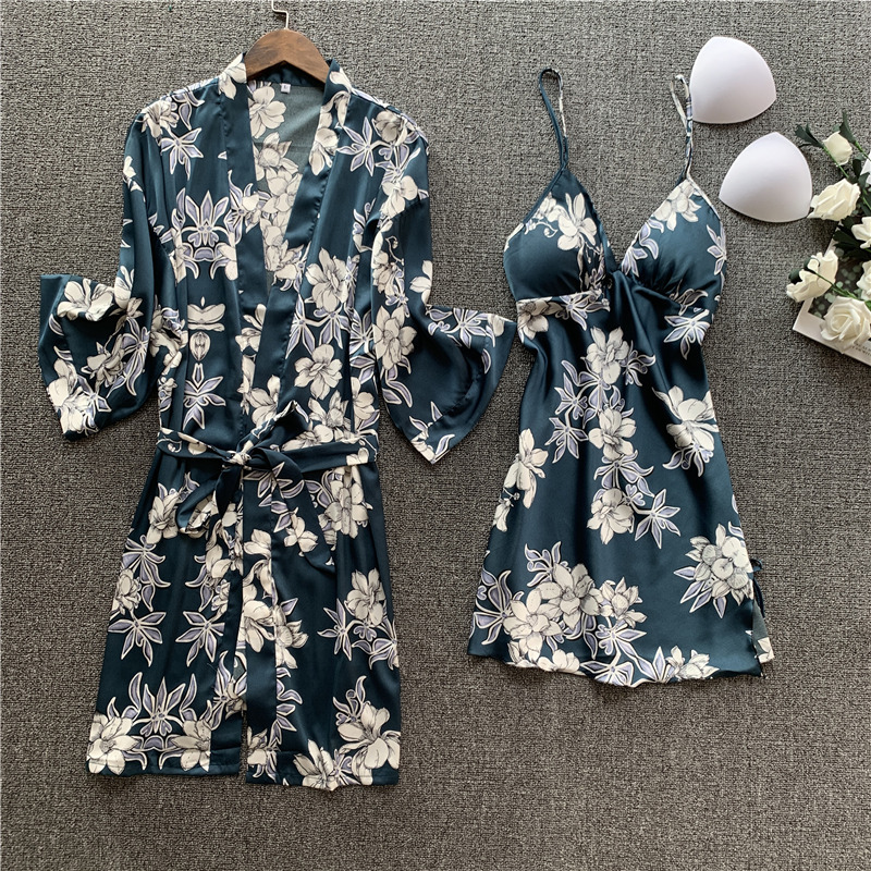 Pajamas Female Season Sexy Lace Nightgown Two-piece Set Long Sleeve Silk Pajamas Thin Bathrobe Home Clothes