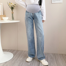 978# Wide Leg Loose Denim Maternity Full Long Jeans Adjustable Belly Pants Clothes for Pregnant Women Spring Pregnancy Trousers