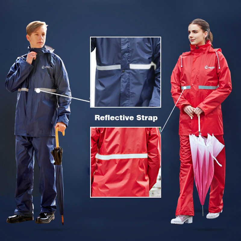 Rainfreem nieprzemakalny płaszcz przeciwdeszczowy kobiety/mężczyźni odzież przeciwdeszczowa jednowarstwowe kombinezony outdoorowe damskie motocyklowe wodoodporne poncho przeciwdeszczowe