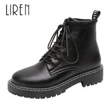 Liren 2019 Summer Fashion Lady Sexy Ankle Zip Boots Cross-tied Metal Decoration Round Toe Flat Low Heels PU Women