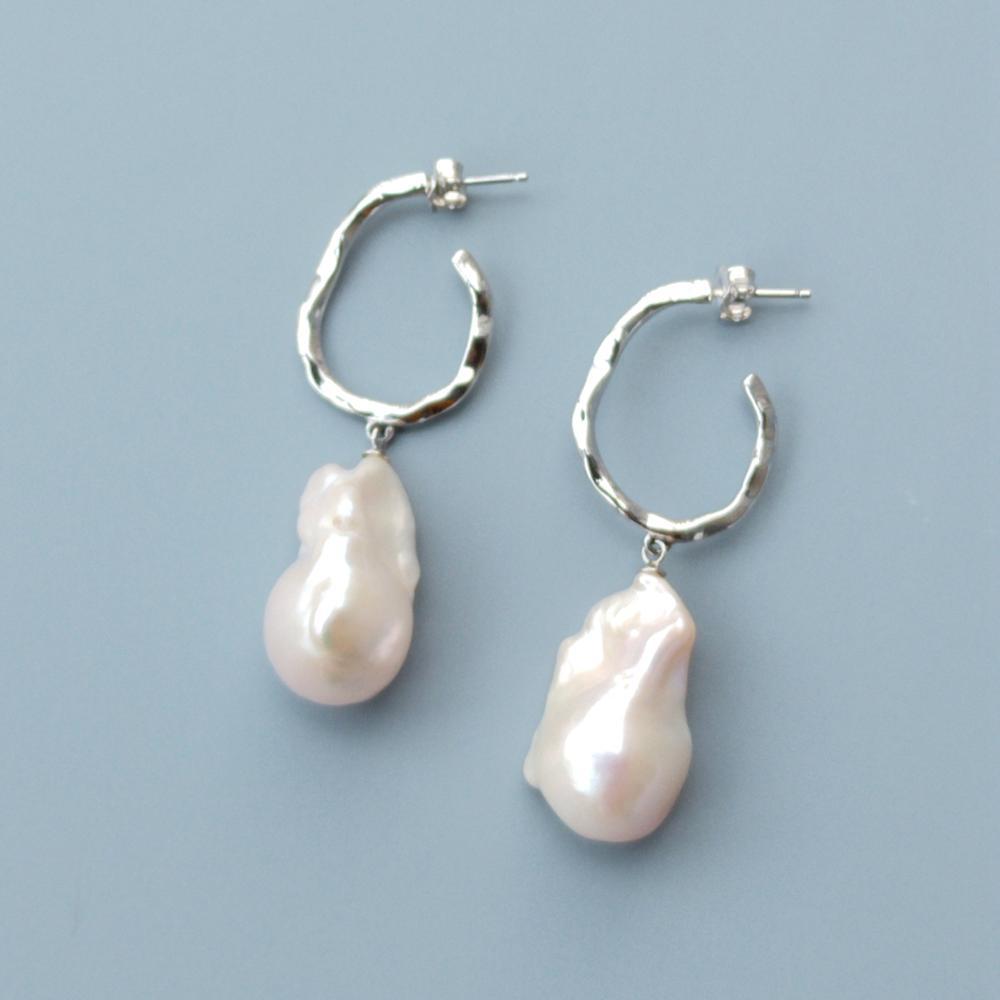 LiiJi Unique haute qualité grand blanc Baroque perle boucles d'oreilles 925 en argent Sterling or blanc couleur délicate élégant bijoux