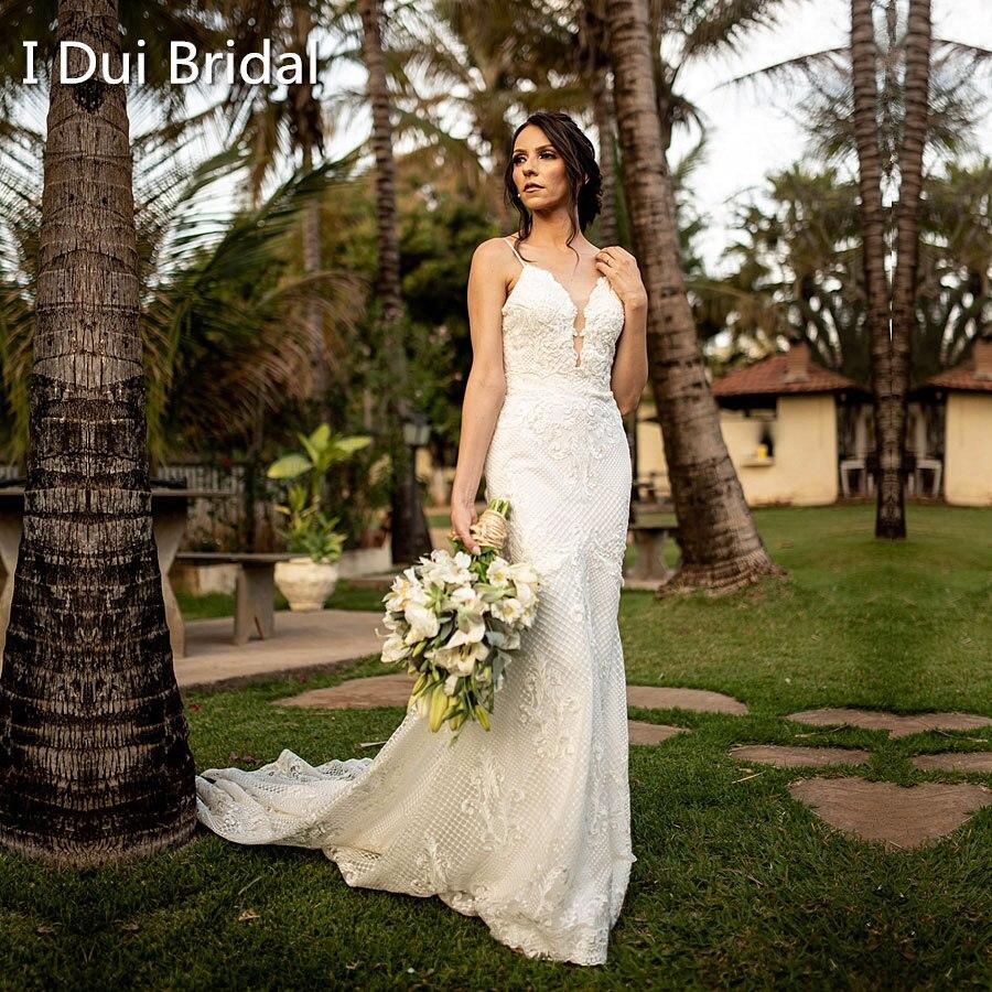 Свадебное платье Русалка на тонких бретельках, роскошное кружевное платье высокого качества с низким вырезом сзади