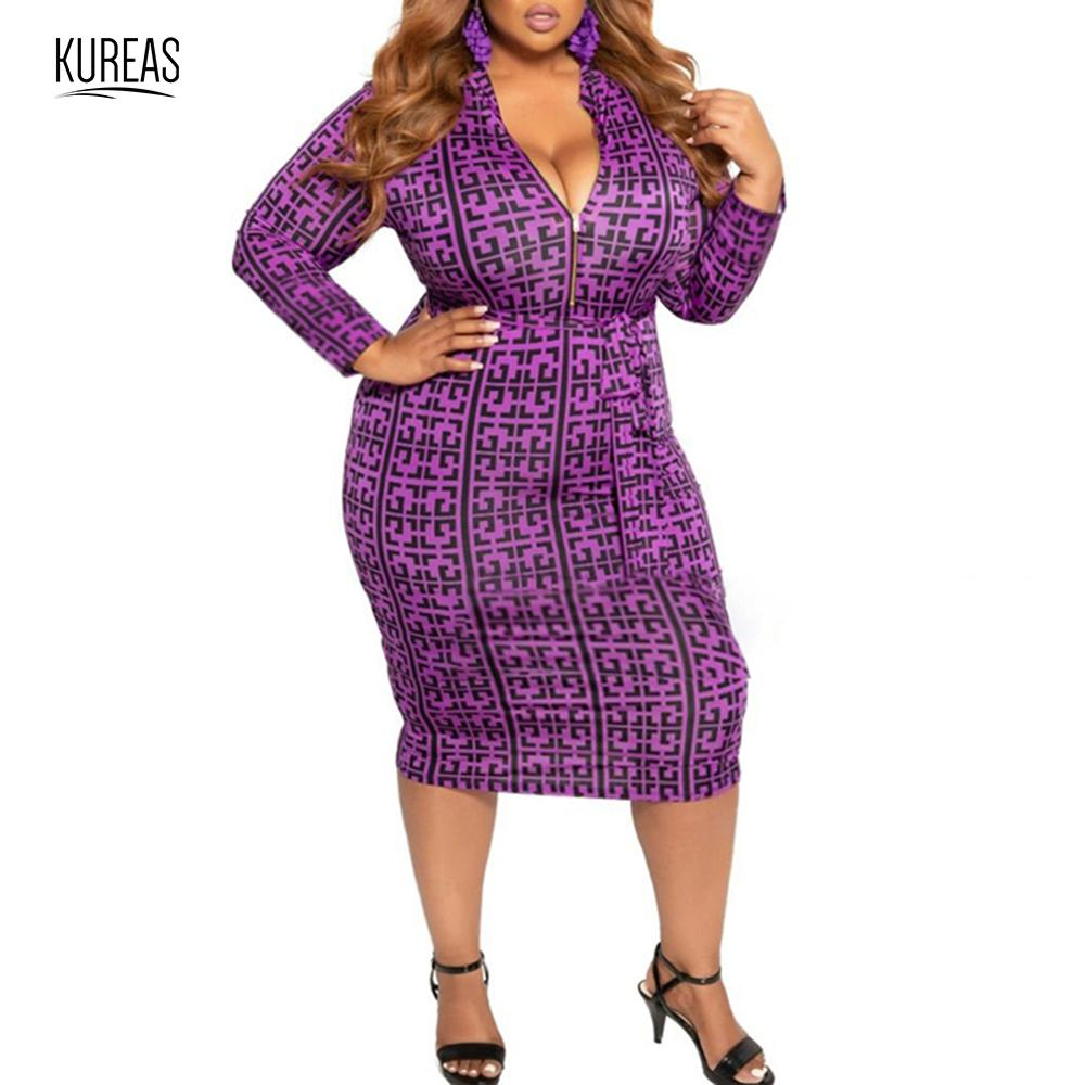 Kureas Women's Maxi Dress Large Size Winter Autumn 2019 Printed Stretch Bodycon Dresses Midi Pros And Cons To Wear Office Club