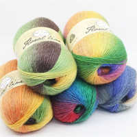 1pc 100g Section dyed wool rainbow Yarn hand knitting Crochet Thick Yarn DIY Craft Warm Scarf Sweater Cushion 360m