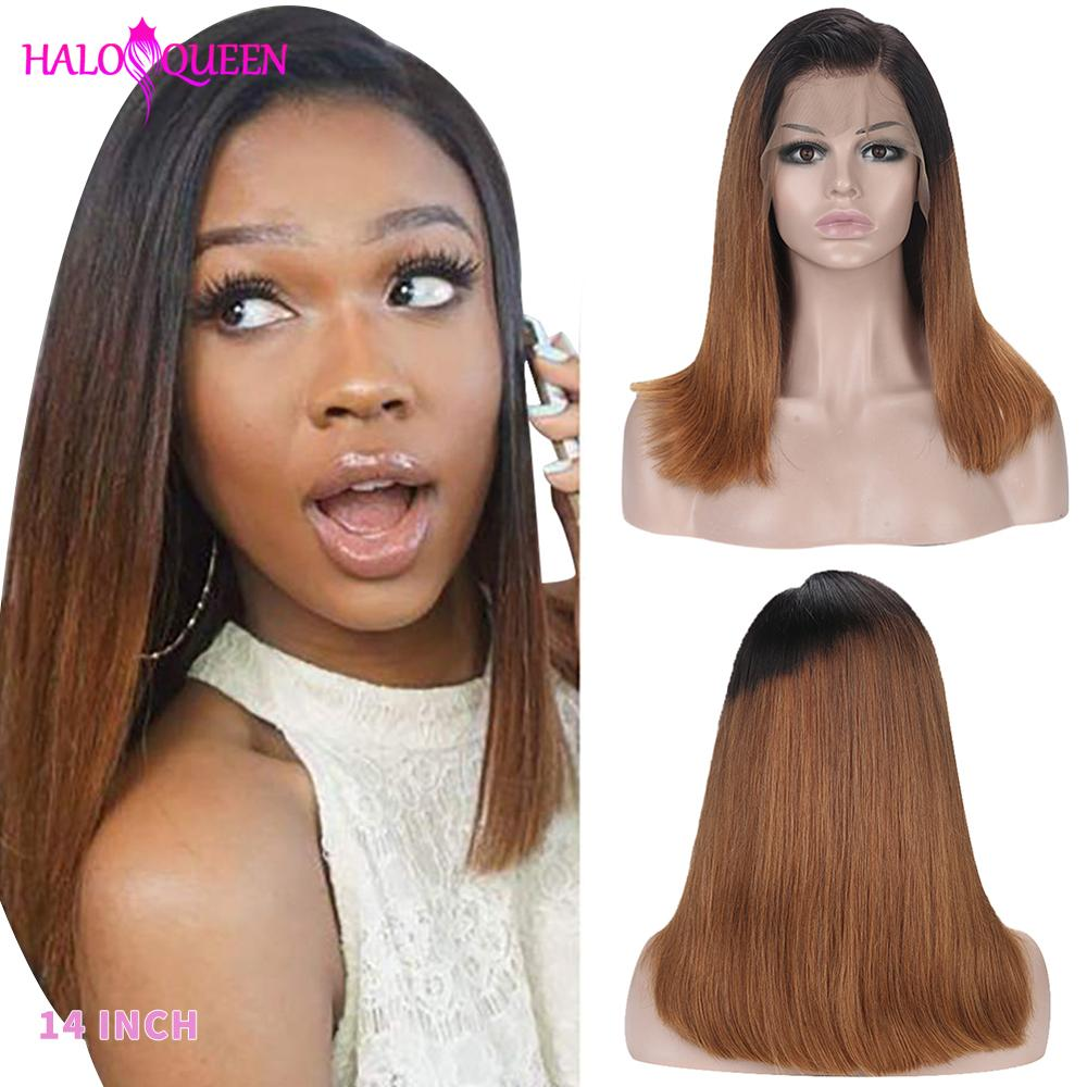 HALOQUEEN Remy Hair Straight Lace Front Human Hair Wigs 2# Brown Color 13*4 Lace Frontal Wig Density 130% 150%  Bleached Knot
