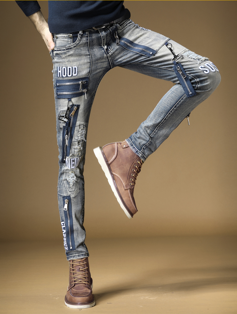 Free Shipping New 2019 Male Fashion Men's Jeans Slim Street Card Hole Mens Rock Metal Hip Hop Old Embroidery Denim Trousers