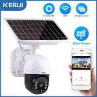 KERUI-cámara IP de 3MP para exteriores, resistente al agua, inalámbrica, WiFi, 8W, Panel Solar, batería PTZ, cámara de seguridad para el hogar, vídeo CCTV, vigilancia