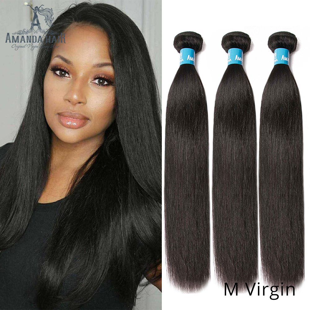 Amanda Double Drawn Straight Human Hair 3 Pcs Brazilian Hair Weave Bundles Natural Color 100% Unprocessed Virgin Hair Bundles