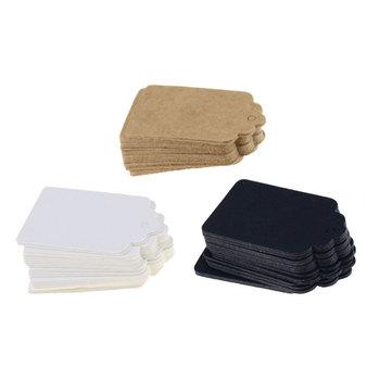 100 sztuk 5*3cm etykieta opakowania brązowy Kraft czarny biały papierowe etykiety diy etykieta z obrębkiem w półokrągłe ząbki prezent ślubny dekorowanie Tag tanie i dobre opinie Wszywki odzieżowe 0 3cm