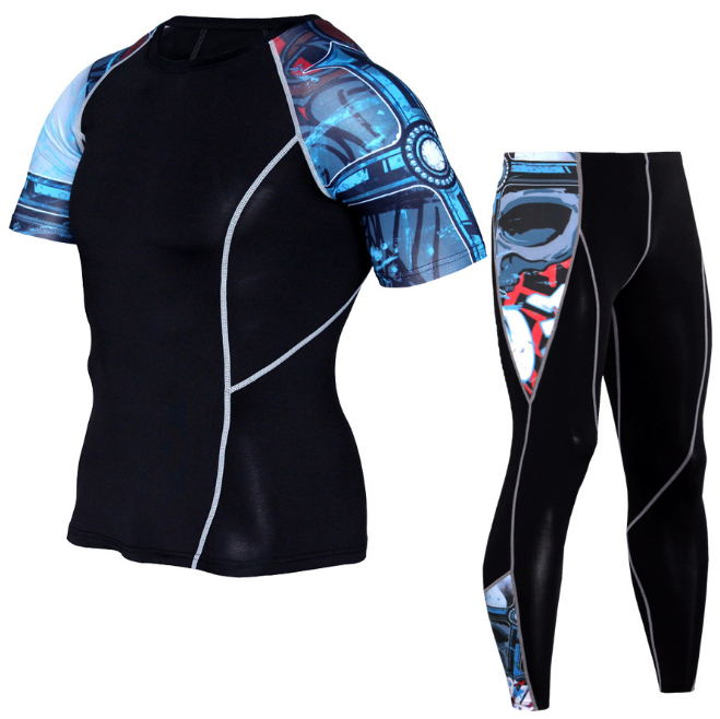 Gym Running 2pcs/sets Men Suit Rashguard Kit MMA Compression Clothing Male Short Sleeve T-shirt + Pants Leggings Tracksuit Men