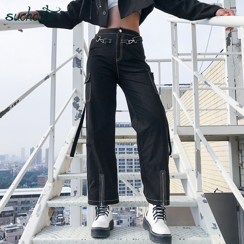 SUCHCUTE Black Women Pants In A Cage With Zipper High Waist Gothic Korean Style Hippie Joggers Female Pantolon Harajuku Trousers