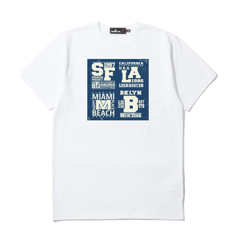 <font><b>SF</b></font> LA BEACH Men's Casual Short Sleeve <font><b>Tshirts</b></font> 100% Cotton Printing T-Shirt Youth Tees EV7948 image