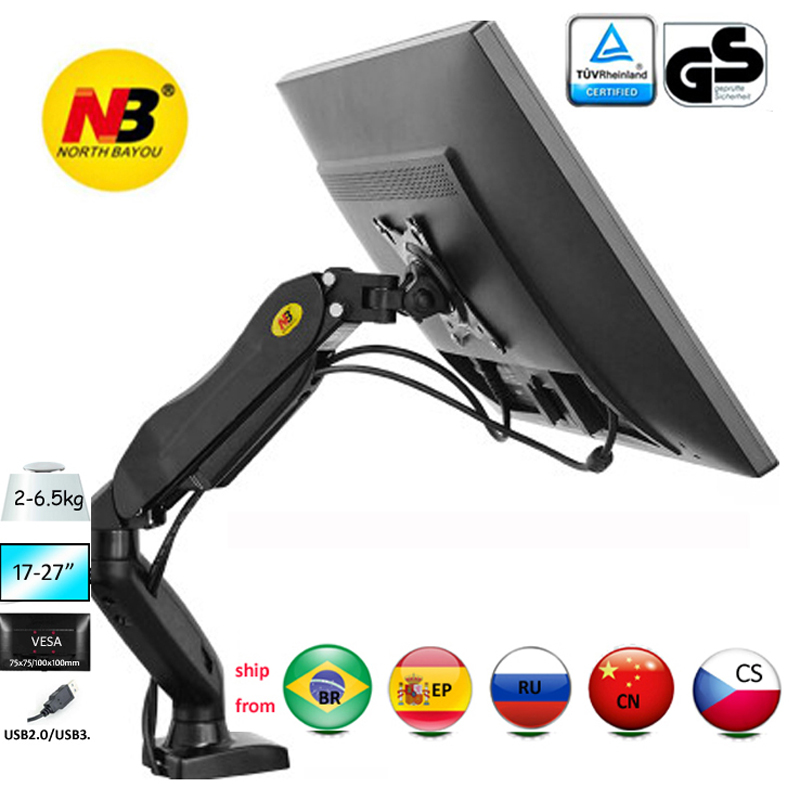 "NB F80 10-27"" 2-9kg Dual Arm Air Press Gas Spring Vesa 100x100 Monitor Desk Mount Stand Clamp Grommet Base PC Desk Holder"