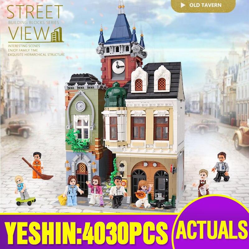 cidade rua edificio brinquedos o lepining moc velho cidade pub conjunto conjunto de montagem brinquedos modelo