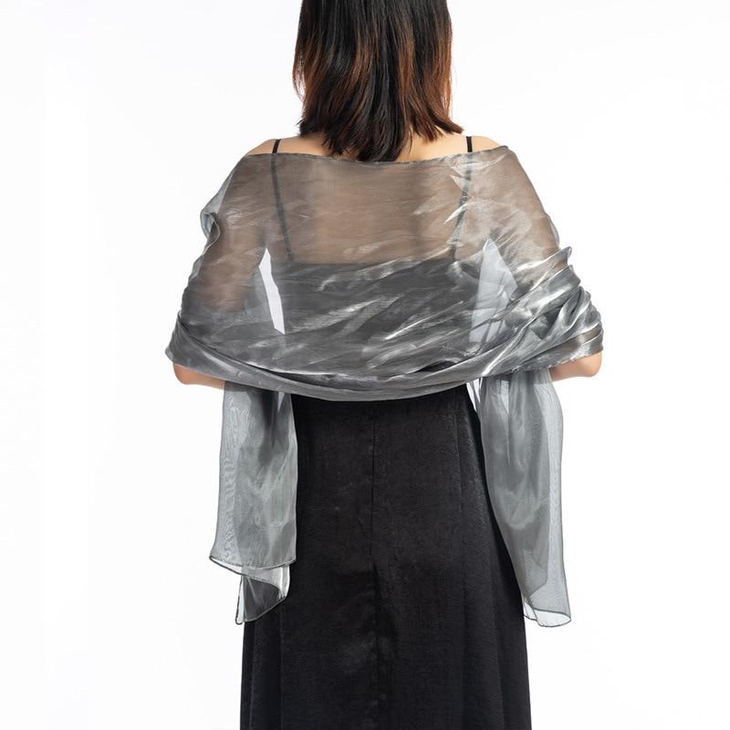 Elegant Wedding Shawls And Wraps 170*70 Dark Grey Party Evening Dress Wedding Wrap Bolero Cape Shawl Pure Color Long Scarf