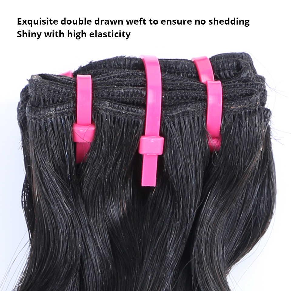 Brasilianische Haarwebart Bundles Blume Lockiges Doppel Gezogen 12A Funmi Unverarbeitete Reine Haar H Natürliche Farbe