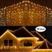 Guirnalda Navidad Luces LED cortina Icicle cadena Luz de hadas 5M Luces Led decoración fiesta jardín escenario exterior iluminación impermeable