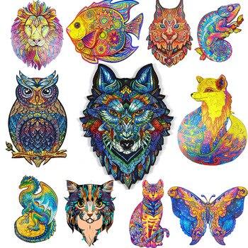 Одежда высшего качества 3D Jigsaw деревянные головоломки каждое изделие выполнено в виде животных карты для взрослых и детей игрушки подарки С...