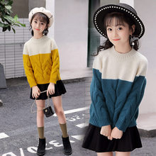 2019 New Arrival Kids Sweaters For Girls Patchwork Fashionable Style Outerwear Pullovers Knitwear 4 5 7 9 11 13T