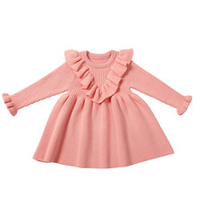 Girls Knit Dress Children Long Sleeve Solid Dresses For Girls Baby Kids Casual Ruched Sweater Dress Clothes Jurk Meisje #LR4 girls sweaters knit tassel sweater dresses kids girls knitting fashion jumper dress kid verkleed kostuum meisjes clothes yl468