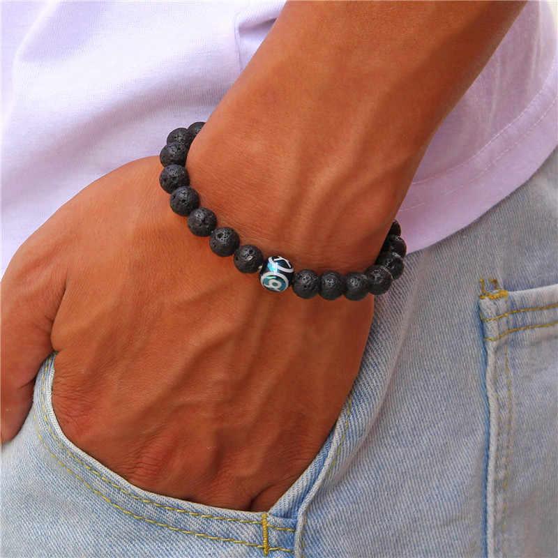 Batu Alam Gelang Pria 12 Rasi Zodiak Tanda Hitam Lava Manik-manik Leo Virgo Libra Woven Kubah Kaca Perhiasan Punk Gelang