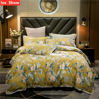 Iva Show Yellow Satin Bedding Set Reactive Printing Bed Set Envelope Pillowcase Queen King Size Bed Four pieces