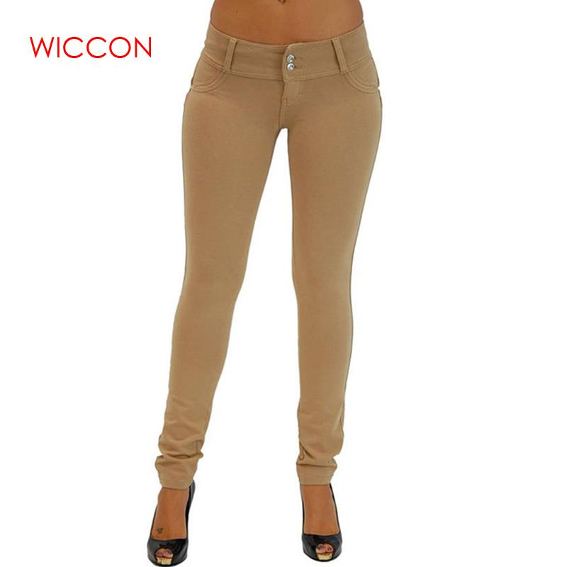 WICCON Elastic Jeans For Women 2020 New Solid Denim Trousers Slim Sexy Denim Skinny Pencil Pants Casual Autumn Winter Hot Jeans