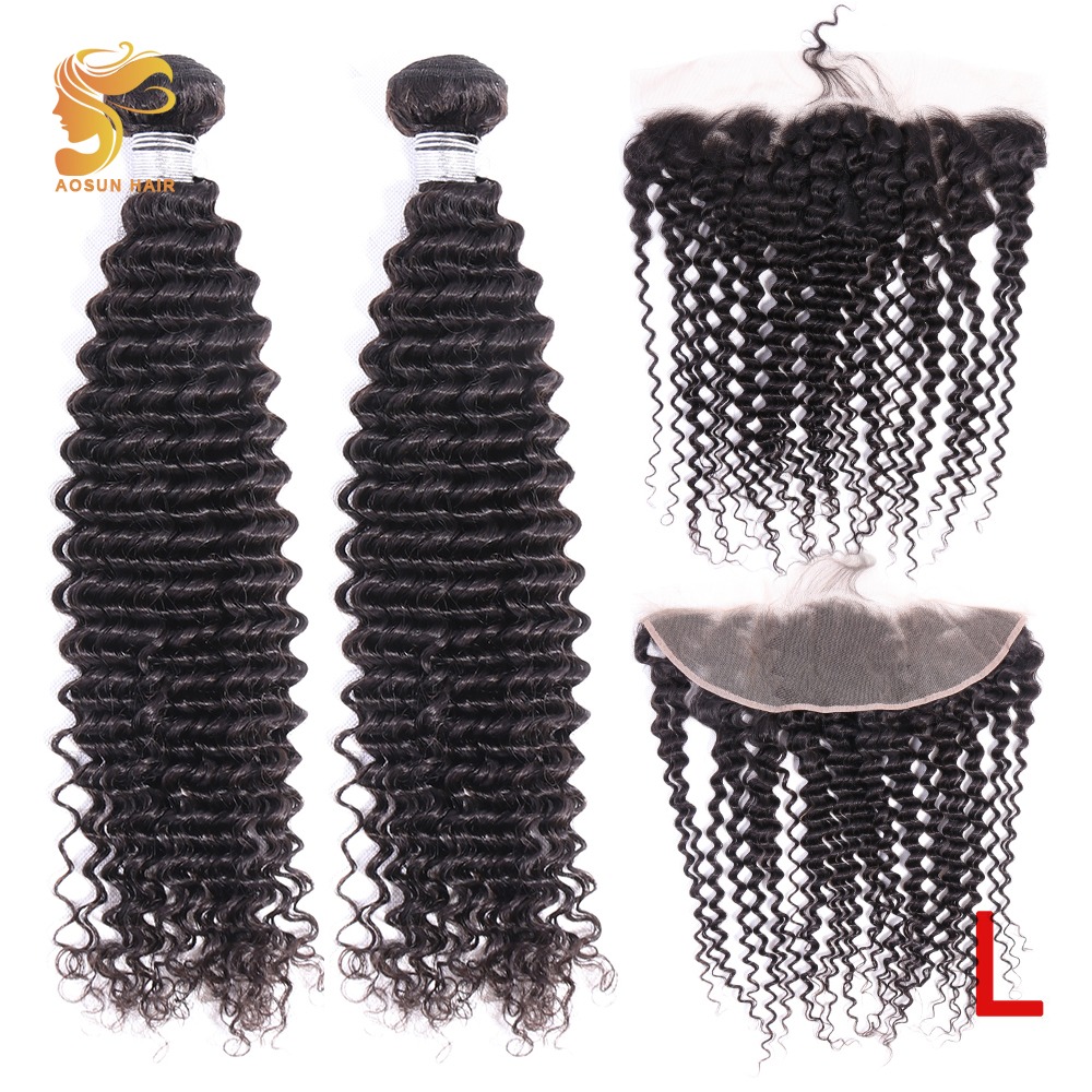 AOSUN HAIR Brazilian Hair Weave Bundles Deep Wave Bundles With Frontal 100% Human Hair Bundles With Ear To Ear 13x4 Frontal Remy