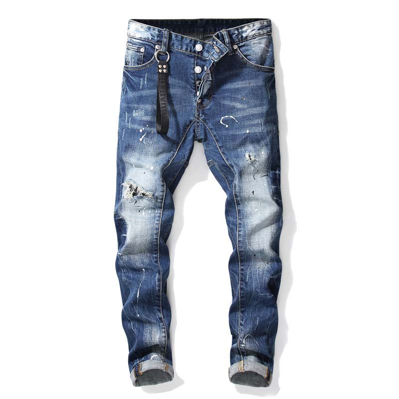 KIOVNO Men's Ripped Painted Denim Trousers High Street Distressed Jeans Pants For Male Washed Size 29-38